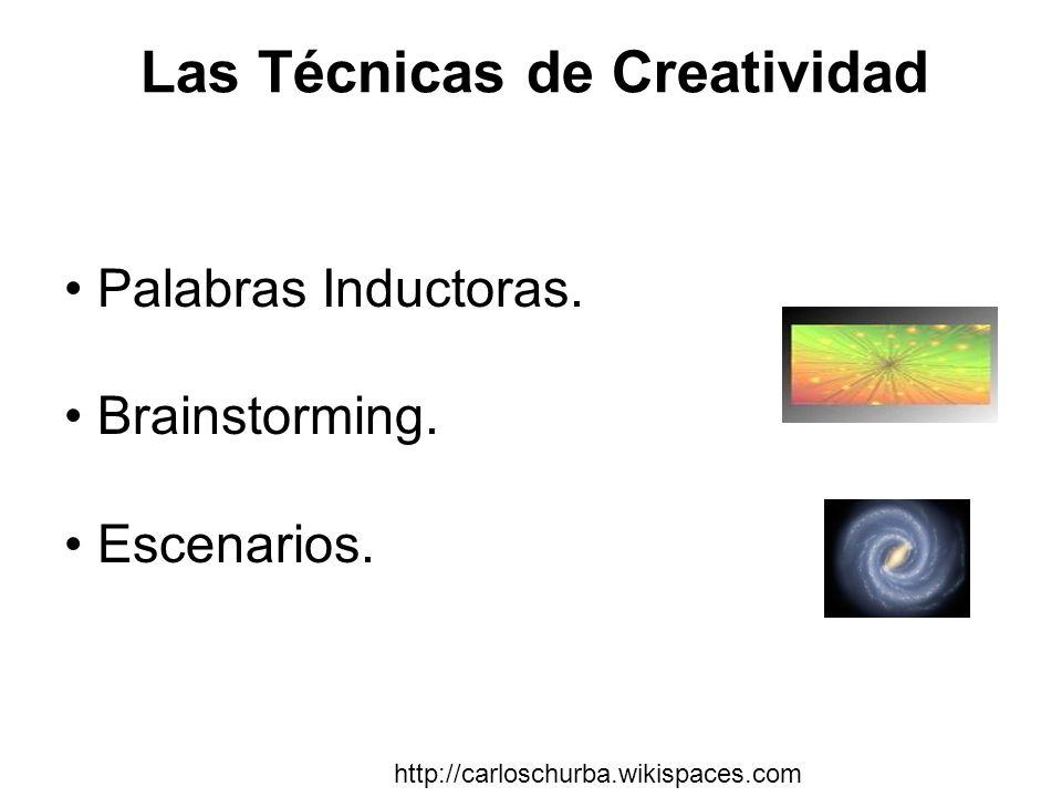 Las Técnicas de Creatividad Palabras Inductoras. Brainstorming. Escenarios. http://carloschurba.wikispaces.com