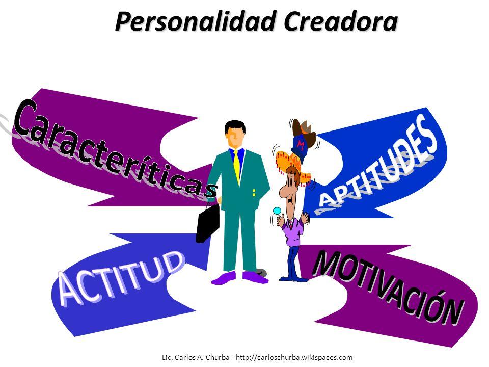 APTITUDES Lic. Carlos A. Churba - http://carloschurba.wikispaces.com Personalidad Creadora Personalidad Creadora