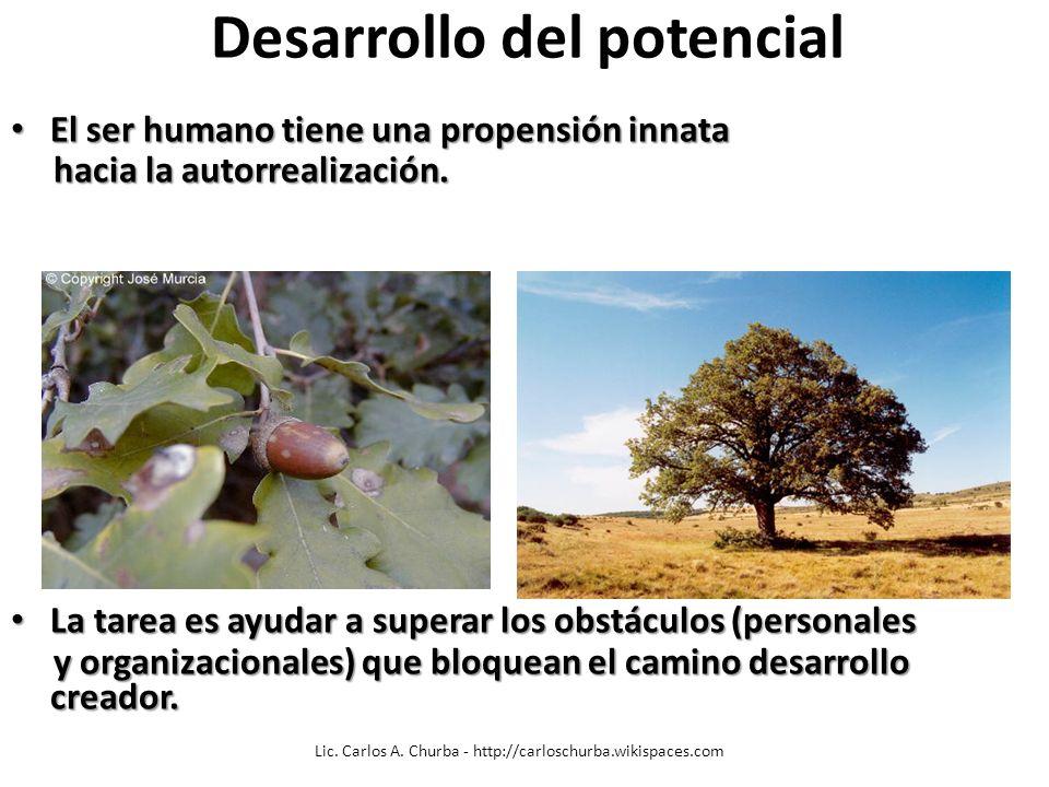 Desarrollo del potencial El ser humano tiene una propensión innata El ser humano tiene una propensión innata hacia la autorrealización. hacia la autor