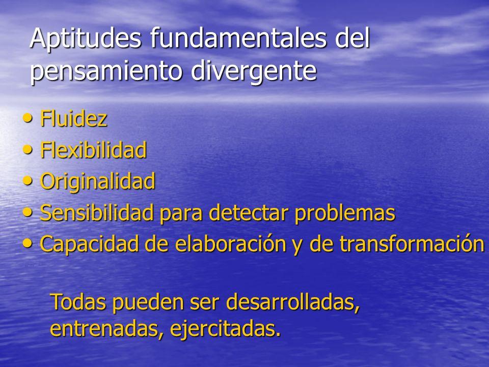 Aptitudes fundamentales del pensamiento divergente Fluidez Fluidez Flexibilidad Flexibilidad Originalidad Originalidad Sensibilidad para detectar prob