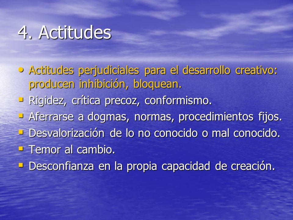 4. Actitudes Actitudes perjudiciales para el desarrollo creativo: producen inhibición, bloquean. Actitudes perjudiciales para el desarrollo creativo: