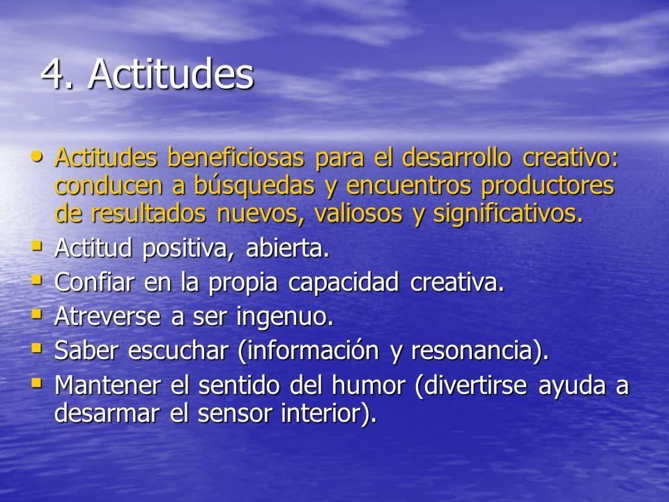 4. Actitudes Actitudes beneficiosas para el desarrollo creativo: conducen a búsquedas y encuentros productores de resultados nuevos, valiosos y signif