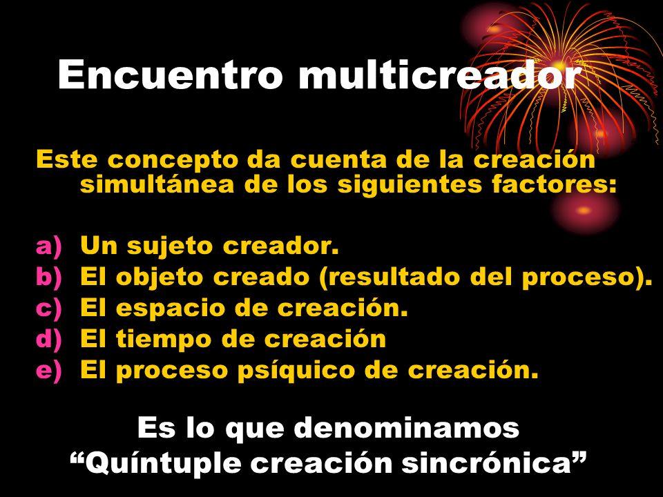 Este concepto da cuenta de la creación simultánea de los siguientes factores: a)Un sujeto creador. b)El objeto creado (resultado del proceso). c)El es