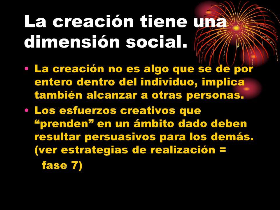 La creación tiene una dimensión social. La creación no es algo que se de por entero dentro del individuo, implica también alcanzar a otras personas. L