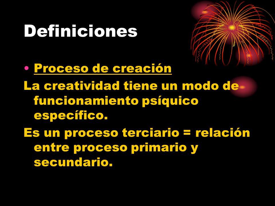 Definiciones Proceso de creación La creatividad tiene un modo de funcionamiento psíquico específico. Es un proceso terciario = relación entre proceso