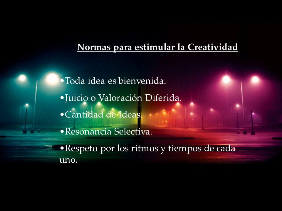 Normas para estimular la Creatividad Toda idea es bienvenida.