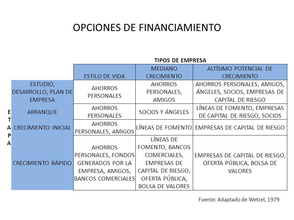 OPCIONES DE FINANCIAMIENTO TIPOS DE EMPRESA ETAPAETAPA ESTILO DE VIDA MEDIANO CRECIMIENTO ALTÍSIMO POTENCIAL DE CRECIMIENTO ESTUDIO, DESARROLLO, PLAN