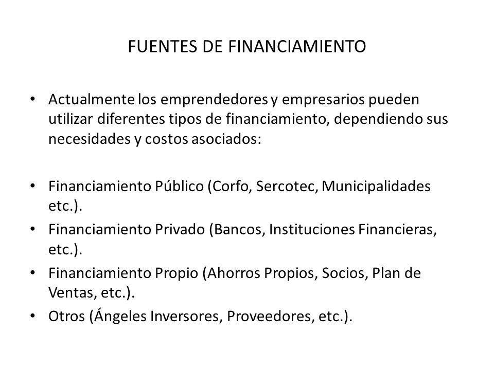 FUENTES DE FINANCIAMIENTO Actualmente los emprendedores y empresarios pueden utilizar diferentes tipos de financiamiento, dependiendo sus necesidades