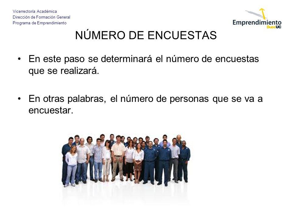 Vicerrectoría Académica Dirección de Formación General Programa de Emprendimiento NÚMERO DE ENCUESTAS En este paso se determinará el número de encuest