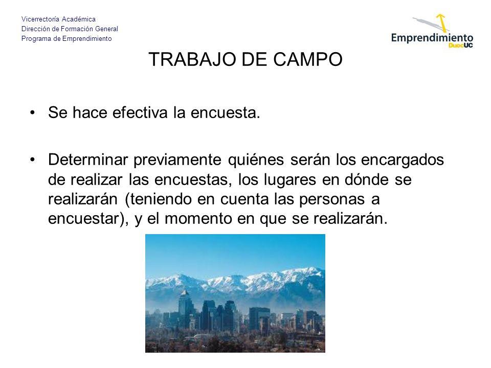 Vicerrectoría Académica Dirección de Formación General Programa de Emprendimiento TRABAJO DE CAMPO Se hace efectiva la encuesta. Determinar previament