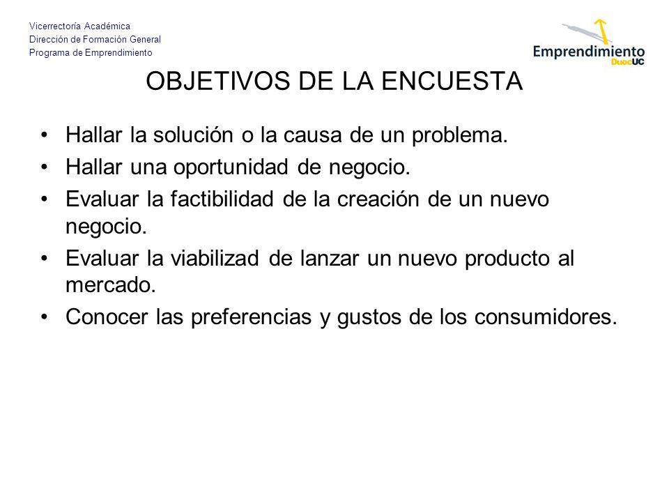 Vicerrectoría Académica Dirección de Formación General Programa de Emprendimiento OBJETIVOS DE LA ENCUESTA Hallar la solución o la causa de un problem