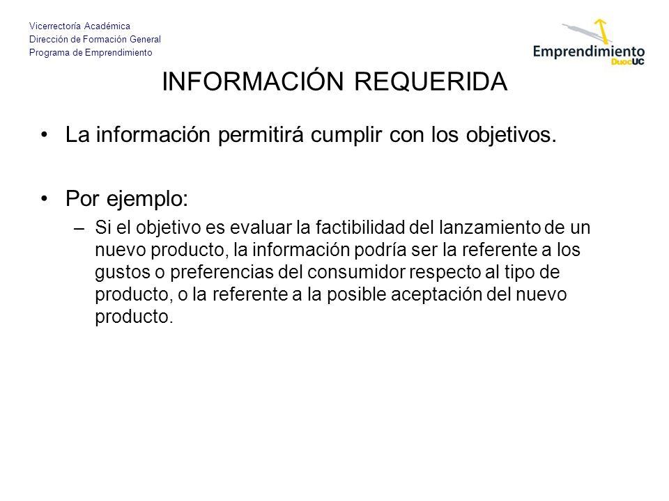 Vicerrectoría Académica Dirección de Formación General Programa de Emprendimiento INFORMACIÓN REQUERIDA La información permitirá cumplir con los objet