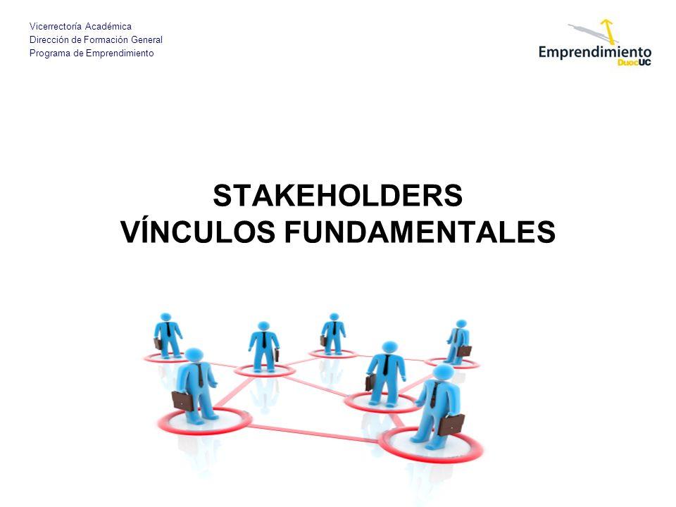 Vicerrectoría Académica Dirección de Formación General Programa de Emprendimiento STAKEHOLDERS VÍNCULOS FUNDAMENTALES