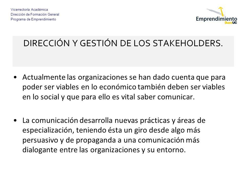 Vicerrectoría Académica Dirección de Formación General Programa de Emprendimiento DIRECCIÓN Y GESTIÓN DE LOS STAKEHOLDERS. Actualmente las organizacio
