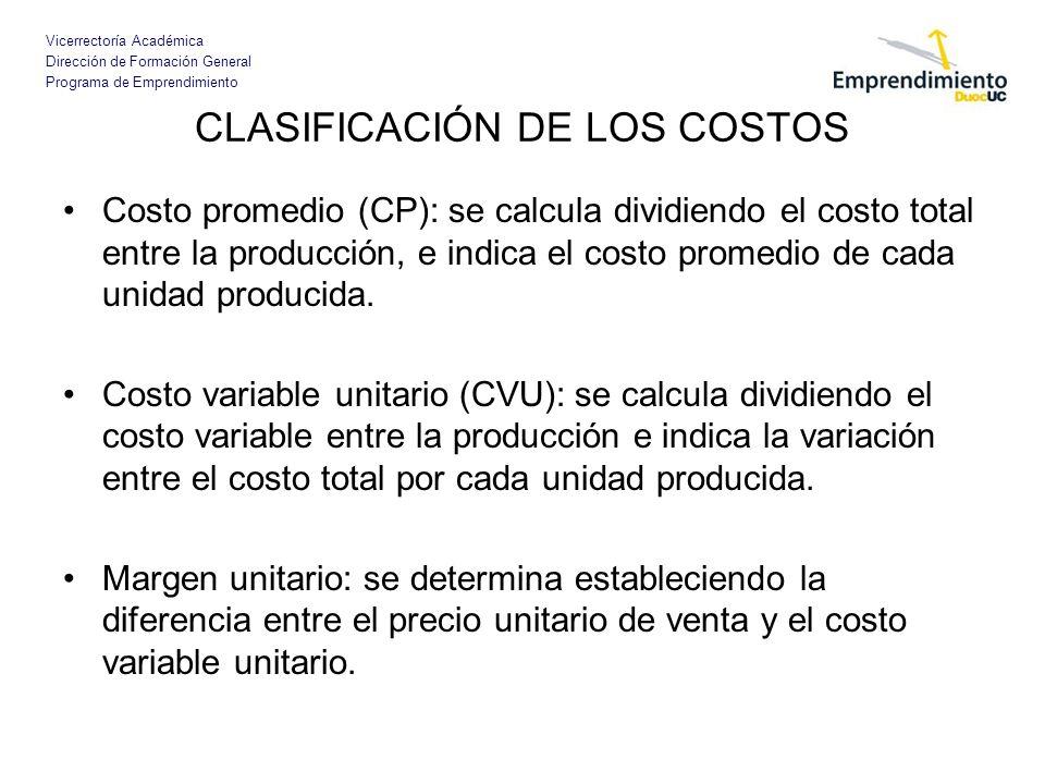 Vicerrectoría Académica Dirección de Formación General Programa de Emprendimiento CLASIFICACIÓN DE LOS COSTOS Costo promedio (CP): se calcula dividien