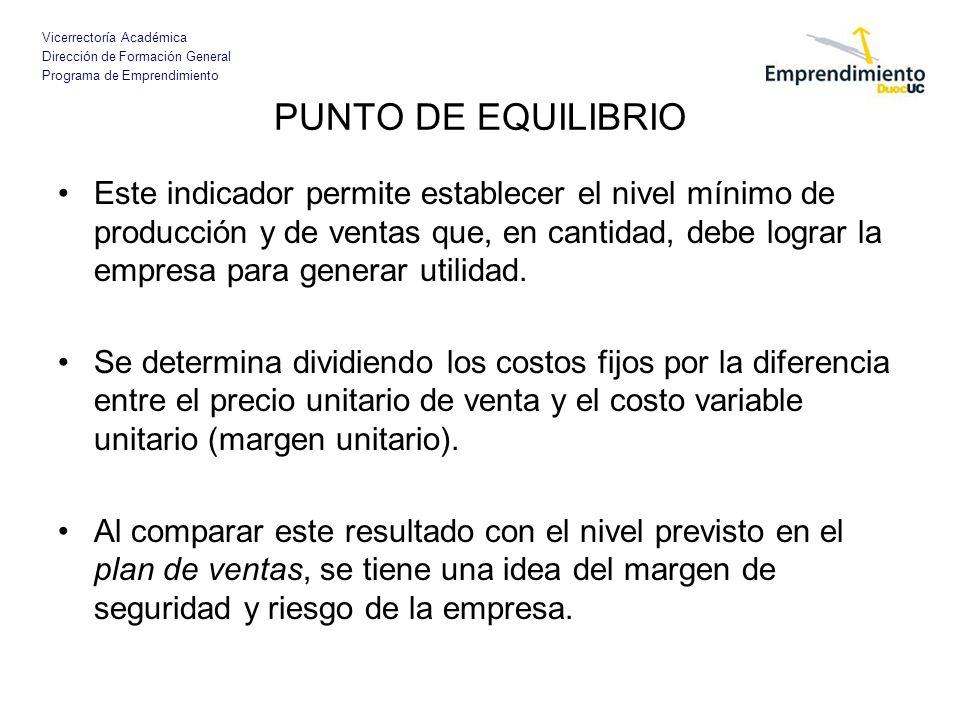 Vicerrectoría Académica Dirección de Formación General Programa de Emprendimiento PUNTO DE EQUILIBRIO Este indicador permite establecer el nivel mínim