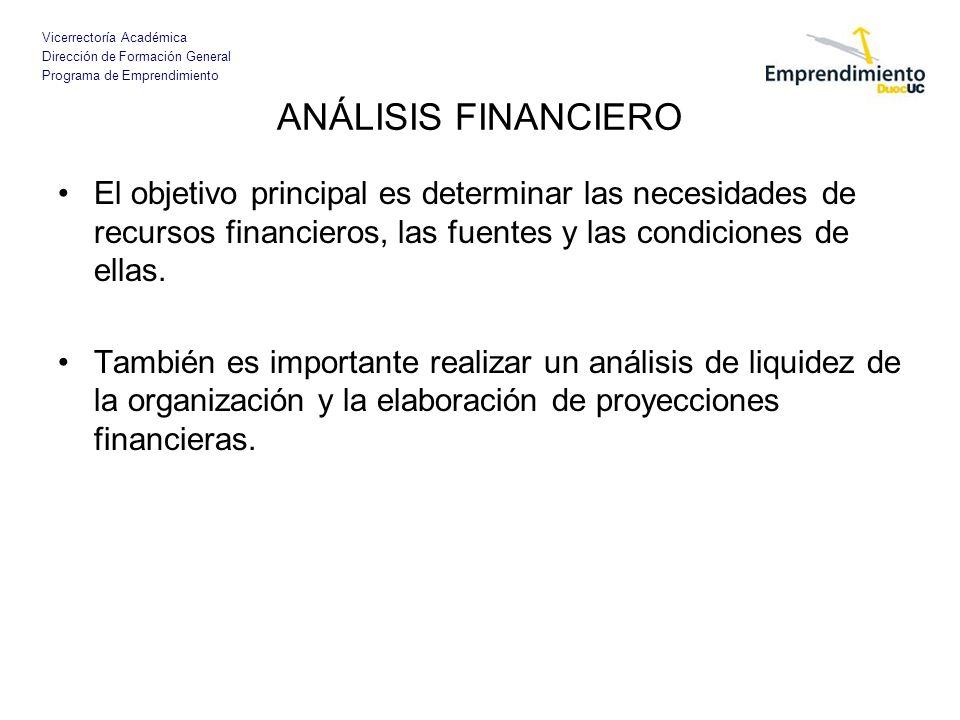 Vicerrectoría Académica Dirección de Formación General Programa de Emprendimiento ANÁLISIS FINANCIERO El objetivo principal es determinar las necesida