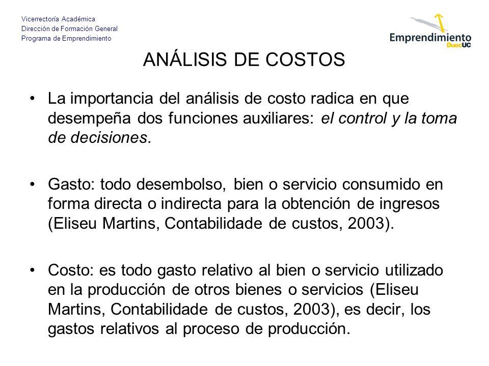 Vicerrectoría Académica Dirección de Formación General Programa de Emprendimiento ANÁLISIS DE COSTOS La importancia del análisis de costo radica en qu