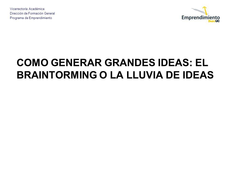 Vicerrectoría Académica Dirección de Formación General Programa de Emprendimiento COMO GENERAR GRANDES IDEAS: EL BRAINTORMING O LA LLUVIA DE IDEAS