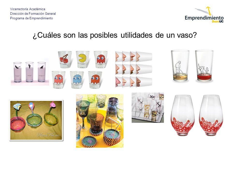 Vicerrectoría Académica Dirección de Formación General Programa de Emprendimiento ¿Cuáles son las posibles utilidades de un vaso