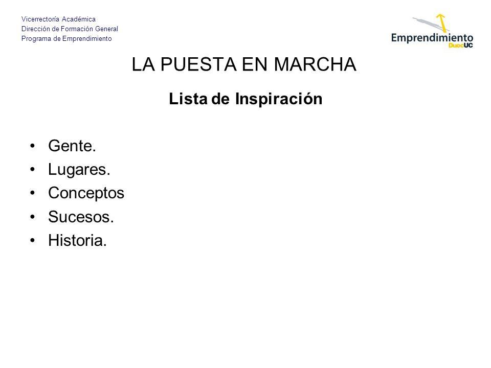 Vicerrectoría Académica Dirección de Formación General Programa de Emprendimiento Lista de Inspiración Gente.