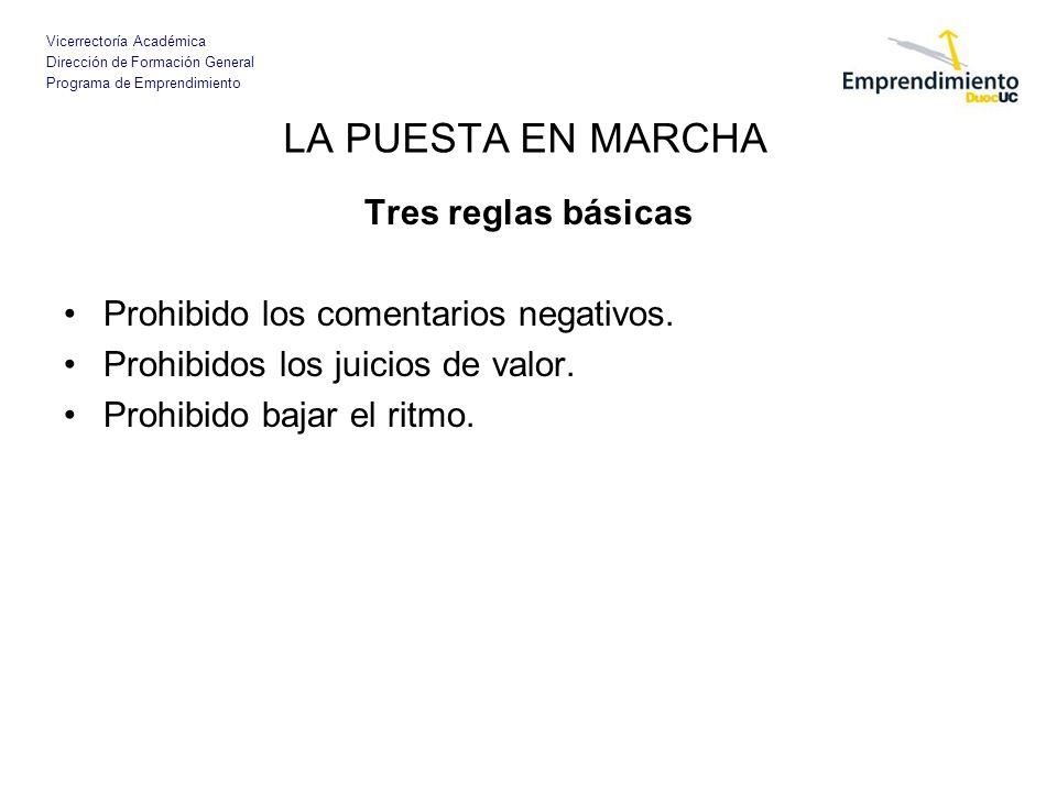 Vicerrectoría Académica Dirección de Formación General Programa de Emprendimiento Tres reglas básicas Prohibido los comentarios negativos.