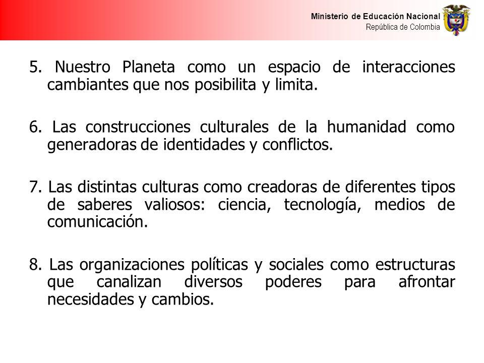 Ministerio de Educación Nacional República de Colombia 5. Nuestro Planeta como un espacio de interacciones cambiantes que nos posibilita y limita. 6.