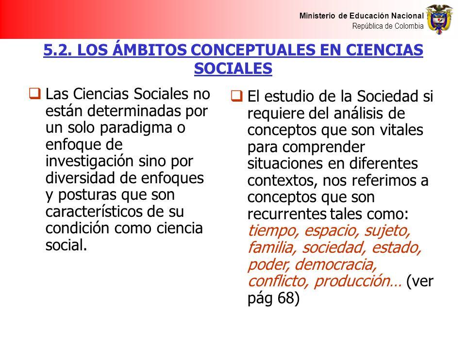 Ministerio de Educación Nacional República de Colombia 5.2. LOS ÁMBITOS CONCEPTUALES EN CIENCIAS SOCIALES Las Ciencias Sociales no están determinadas