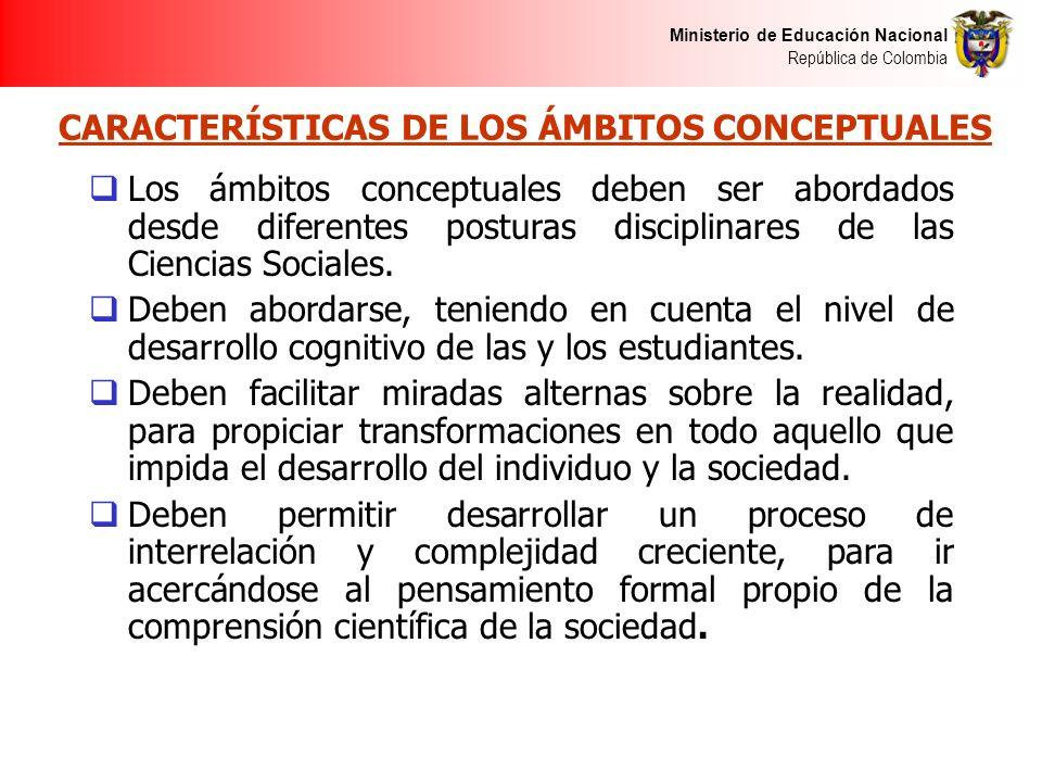 Ministerio de Educación Nacional República de Colombia CARACTERÍSTICAS DE LOS ÁMBITOS CONCEPTUALES Los ámbitos conceptuales deben ser abordados desde
