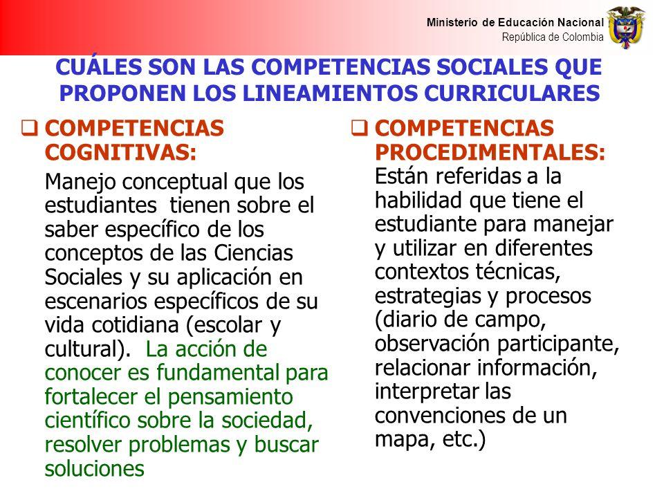 Ministerio de Educación Nacional República de Colombia CUÁLES SON LAS COMPETENCIAS SOCIALES QUE PROPONEN LOS LINEAMIENTOS CURRICULARES COMPETENCIAS CO