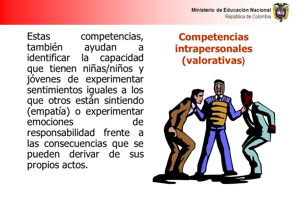 Ministerio de Educación Nacional República de Colombia Competencias intrapersonales (valorativas ) Estas competencias, también ayudan a identificar la