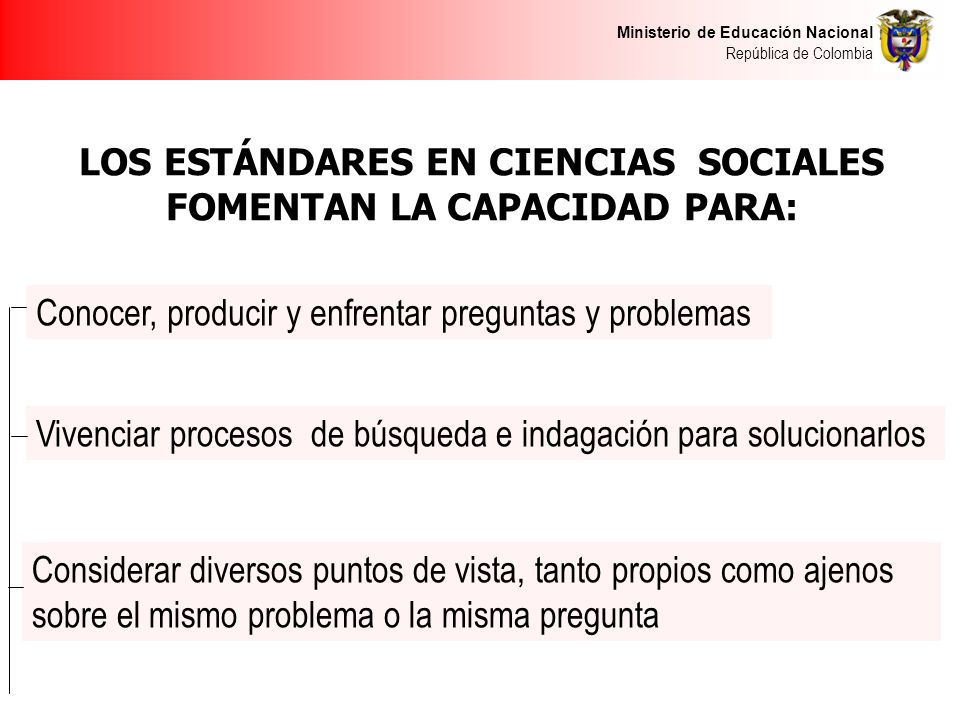 Ministerio de Educación Nacional República de Colombia LOS ESTÁNDARES EN CIENCIAS SOCIALES FOMENTAN LA CAPACIDAD PARA: Conocer, producir y enfrentar p