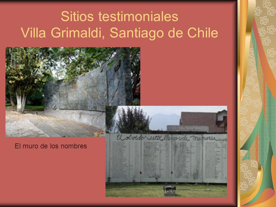 Sitios testimoniales Villa Grimaldi, Santiago de Chile El muro de los nombres