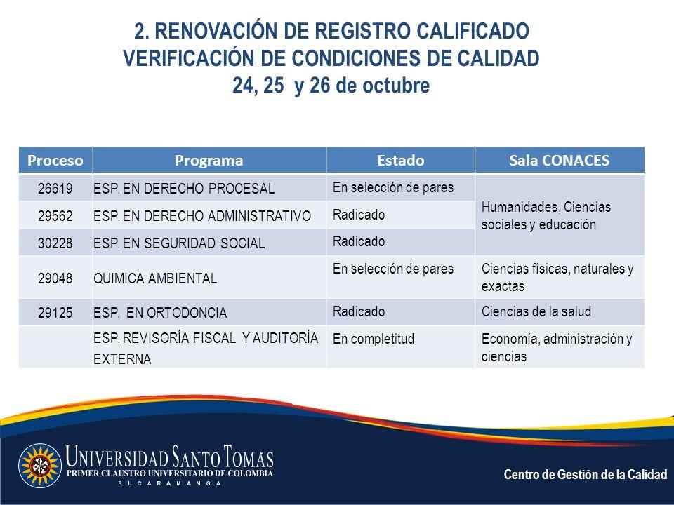 2. RENOVACIÓN DE REGISTRO CALIFICADO VERIFICACIÓN DE CONDICIONES DE CALIDAD 24, 25 y 26 de octubre Centro de Gestión de la Calidad ProcesoProgramaEsta