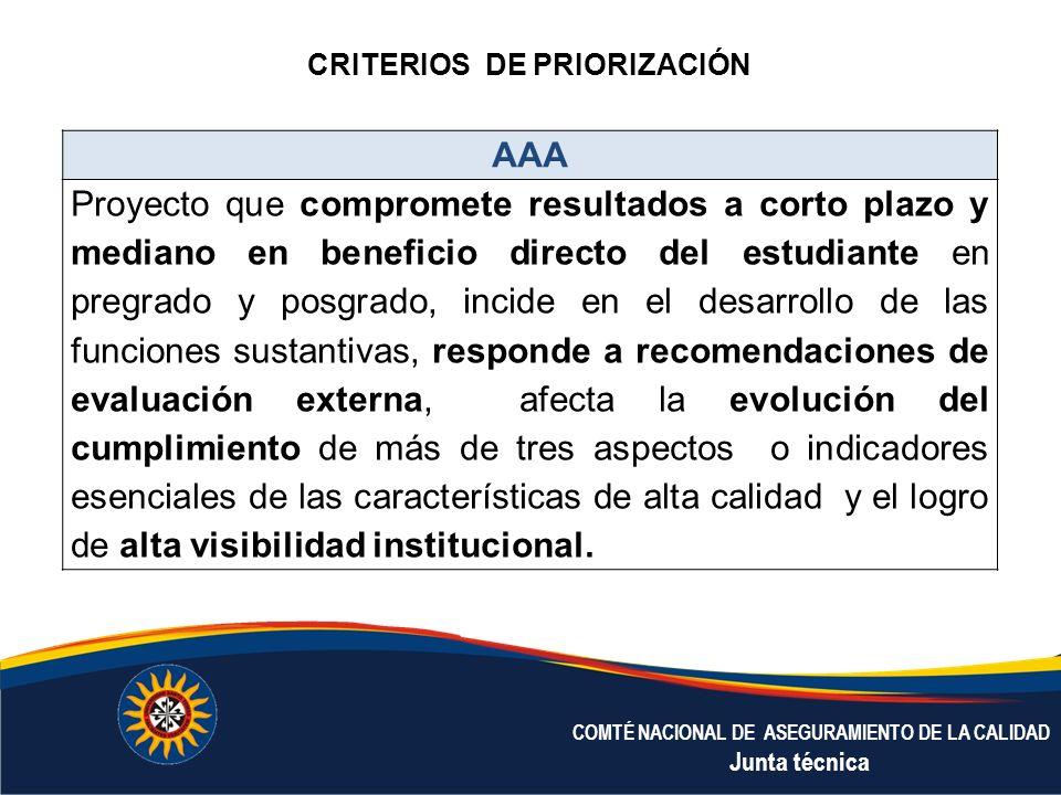 COMTÉ NACIONAL DE ASEGURAMIENTO DE LA CALIDAD Junta técnica AAA Proyecto que compromete resultados a corto plazo y mediano en beneficio directo del es