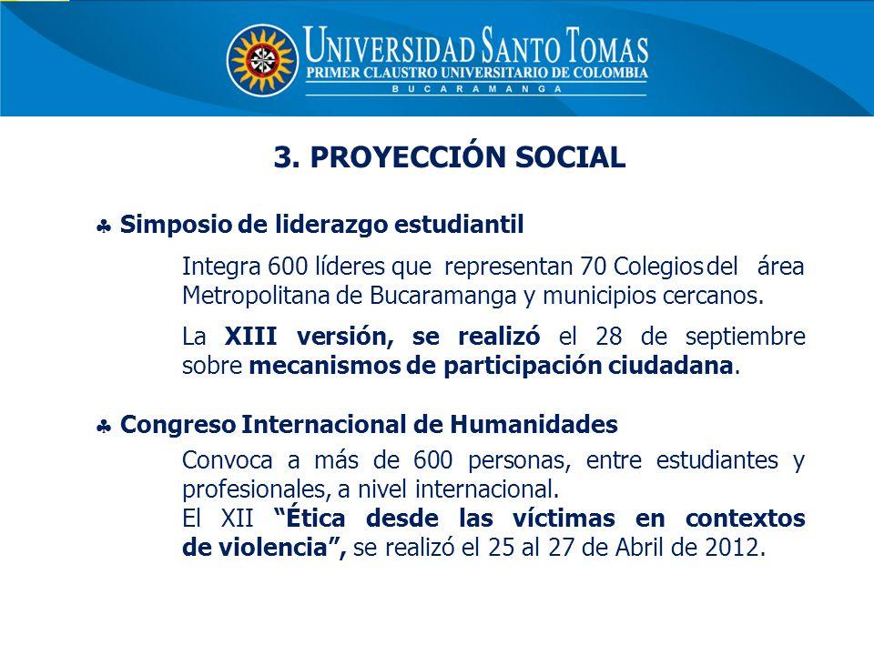 3. PROYECCIÓN SOCIAL Simposio de liderazgo estudiantil Integra 600 líderes que representan 70 Colegiosdel área Metropolitana de Bucaramanga y municipi