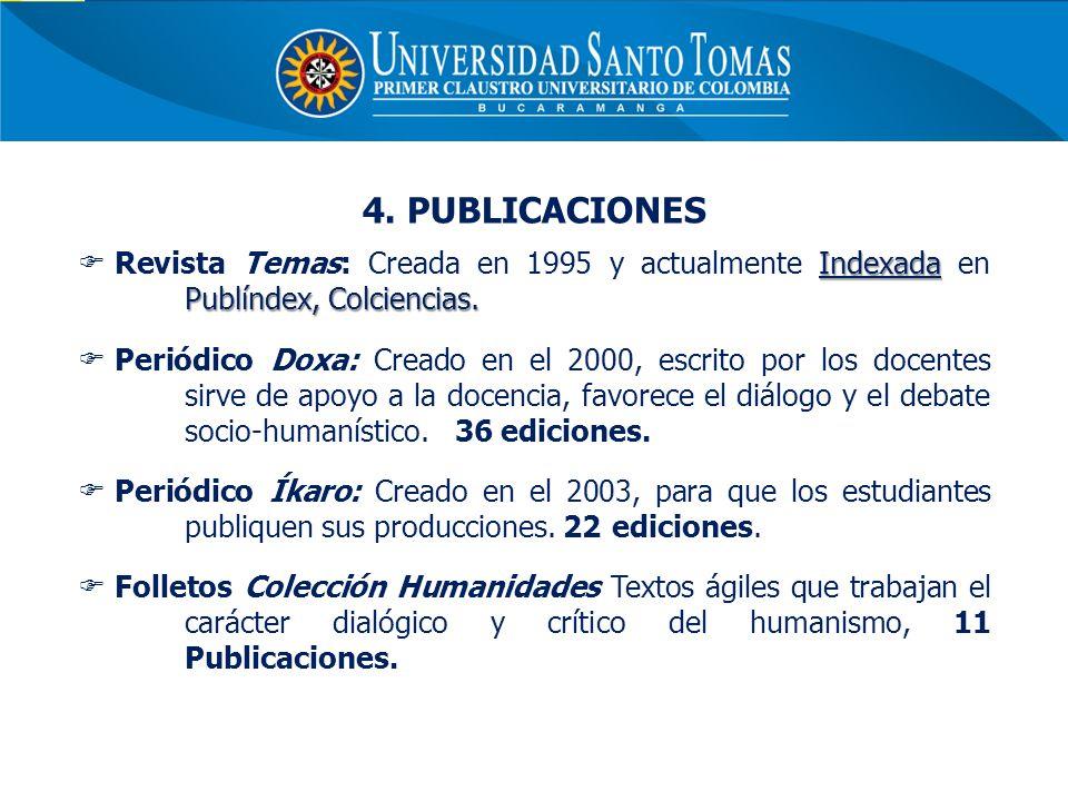 4. PUBLICACIONES Indexada Publíndex, Colciencias. Revista Temas: Creada en 1995 y actualmente Indexada en Publíndex, Colciencias. Periódico Doxa: Crea