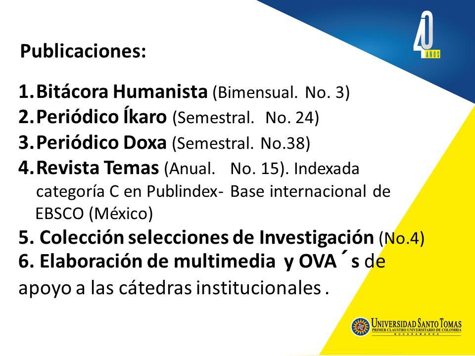 Publicaciones: 1.Bitácora Humanista (Bimensual. No. 3) 2.Periódico Íkaro (Semestral. No. 24) 3.Periódico Doxa (Semestral. No.38) 4.Revista Temas (Anua