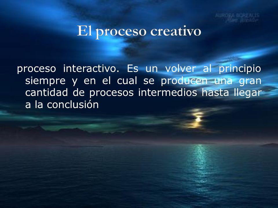 proceso interactivo. Es un volver al principio siempre y en el cual se producen una gran cantidad de procesos intermedios hasta llegar a la conclusión