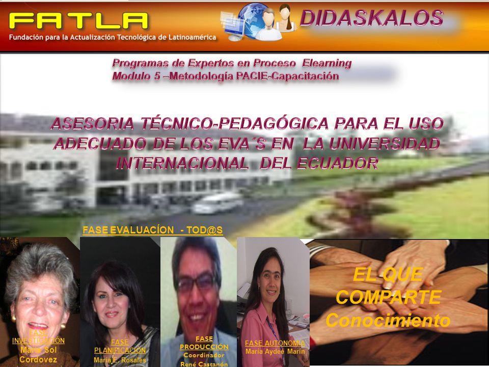 EL QUE COMPARTE Conocimiento FASE PRODUCCIÓN Coordinador René Castanón FASE EVALUACÍON - TOD@S FASE PLANIFICACIÓN María E.