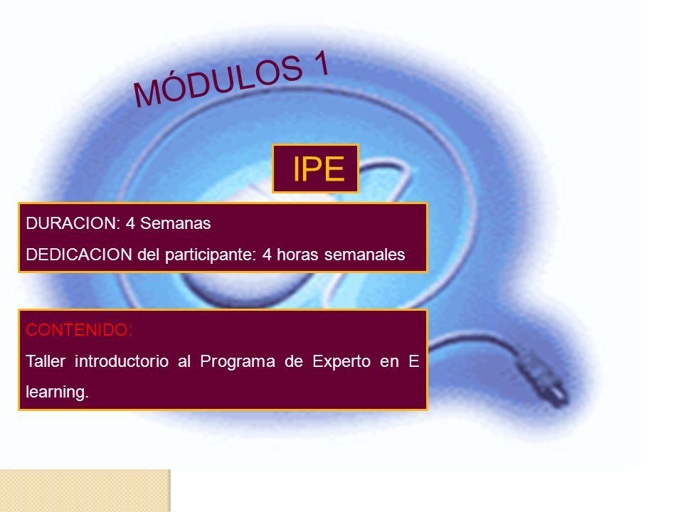 IPE CONTENIDO: Taller introductorio al Programa de Experto en E learning.
