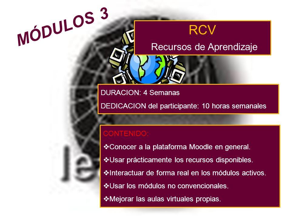RCV Recursos de Aprendizaje CONTENIDO: Conocer a la plataforma Moodle en general.