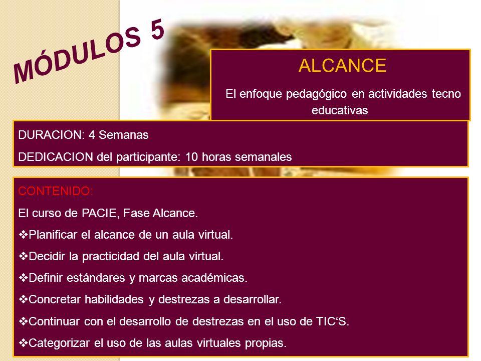 ALCANCE El enfoque pedagógico en actividades tecno educativas CONTENIDO: El curso de PACIE, Fase Alcance.
