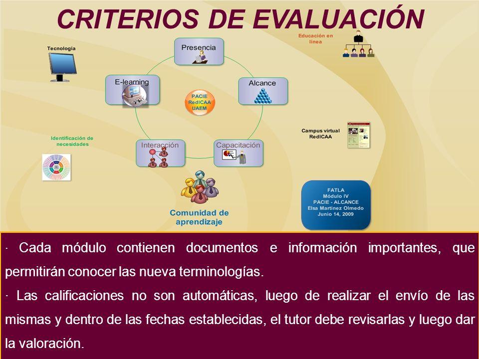 · Cada módulo contienen documentos e información importantes, que permitirán conocer las nueva terminologías.