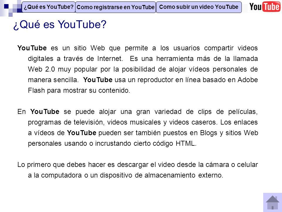 Como registrarse en YouTube Para subir un video es necesario estar registrado en el sitio de YouTube.