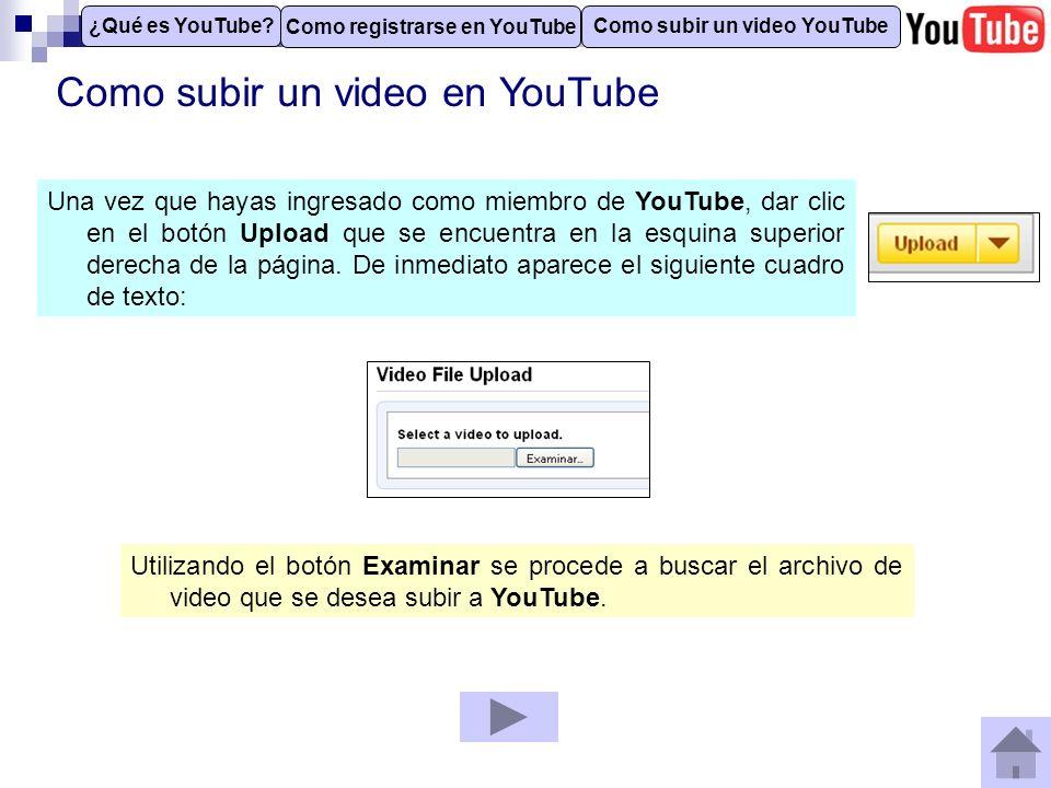 Como subir un video en YouTube Los datos que se solicitan son los siguientes: Title: El titulo para el video.