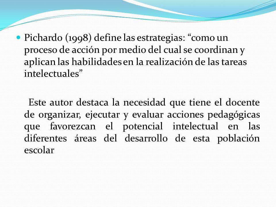 Pichardo (1998) define las estrategias: como un proceso de acción por medio del cual se coordinan y aplican las habilidades en la realización de las t