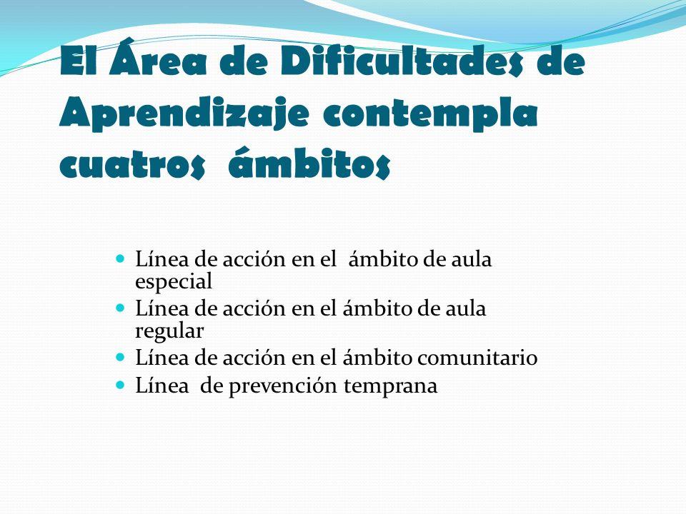 El Área de Dificultades de Aprendizaje contempla cuatros ámbitos Línea de acción en el ámbito de aula especial Línea de acción en el ámbito de aula re