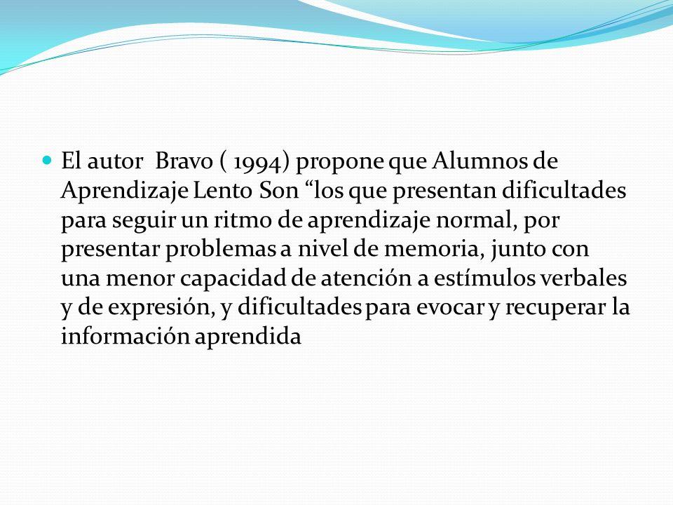 El autor Bravo ( 1994) propone que Alumnos de Aprendizaje Lento Son los que presentan dificultades para seguir un ritmo de aprendizaje normal, por pre