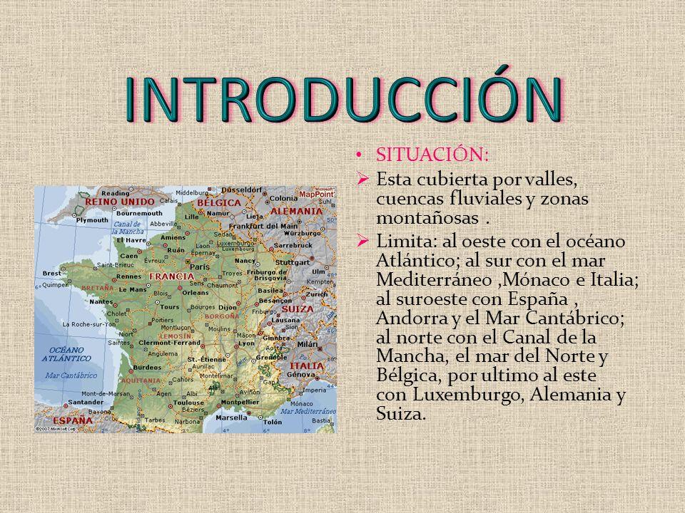 SITUACIÓN: Esta cubierta por valles, cuencas fluviales y zonas montañosas. Limita: al oeste con el océano Atlántico; al sur con el mar Mediterráneo,Mó